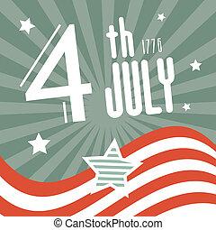 1776, quatrième, retro, fond, juillet, jour, indépendance