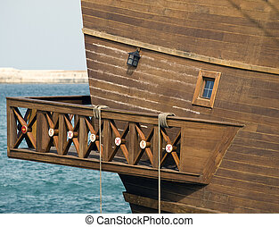 Detail from a 17th Century Spanish Armada galleon berthed at the Grand Harbour in Malta