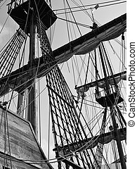 Shrouds and masts on a 17th Century Spanish Armada galleon berthed at the Grand Harbour in Malta