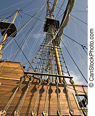 Shrouds on a 17th Century Spanish Armada galleon berthed at the Grand Harbour in Malta