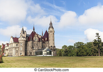 17th century Moszna Castle in sunny day, autumn, Upper Silesia, Poland