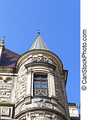 17th century Moszna Castle, tower with details, Upper Silesia, Poland