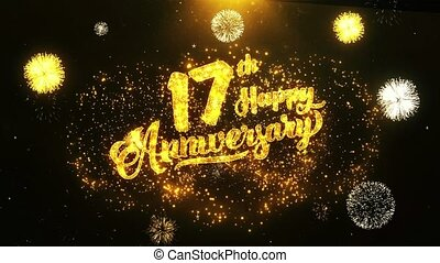 17th Happy Anniversary Text Greeting, Wishes, Celebration, invitation Background