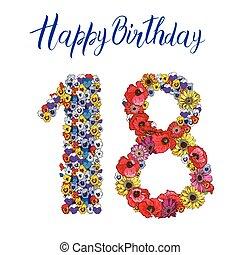18, ディジット, 作られた, の, 別, 花, 隔離された, 白, バックグラウンド。, 誕生日おめでとう, inscription., ベクトル, イラスト