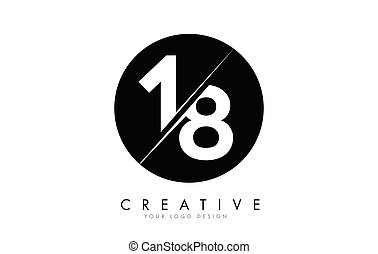 18 1 8 Number Logo Design with a Creative Cut and Black ...