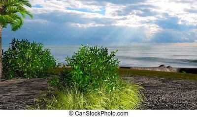 18 3d animated landscape of trees and bushes on beach