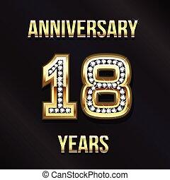 18, años, aniversario, logotipo