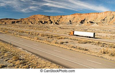 18, encima, rodador, tirón largo, camión, aparejo grande, ...