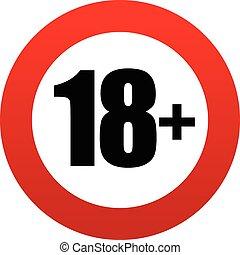 18+, età, segno., restrizione