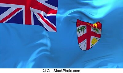 18. Fiji Flag Waving in Wind Continuous Seamless Loop Background.