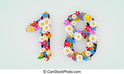 """18."""", floral, animation, """"numerical, chiffre"""