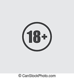 18+ icon in a flat design in black color. Vector illustration eps10