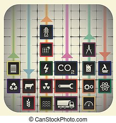 18 infographic elements with graph background including industry symbols