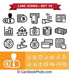 18, ligne, ensemble, icônes