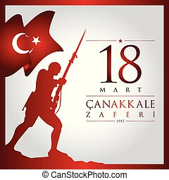 18 mart canakkale zaferi vector illustration. (18 March,...