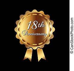 18, medalla, aniversario, oro