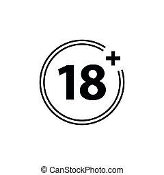 18 plus icon. black vector 18 plus sign