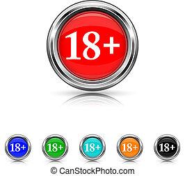 18 plus icon - six colours set