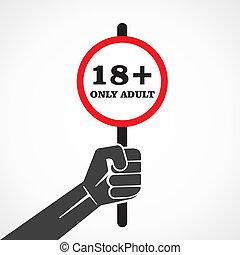 18, plus, plakkaat, houden, in, hand