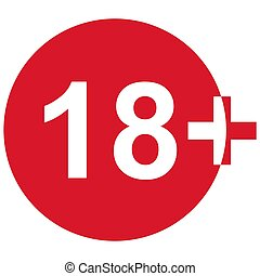 18+ restriction flat sign isolated in red circle. Age limit symbol. No under eighteen years warning illustration