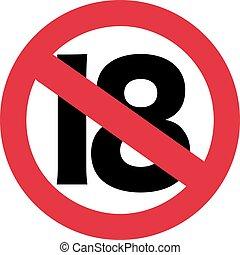 18, -, señal, 19, cumpleaños, prohibición