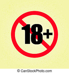 18+ Sign on beige paper texture background - EPS10