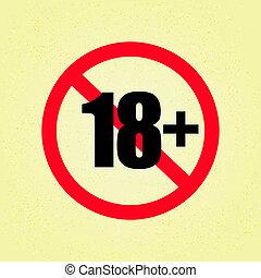 18+, struttura, segno, carta, sfondo beige
