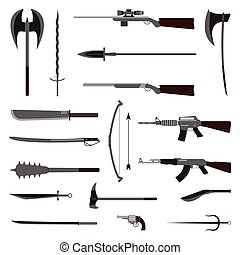 18 weapon icon. Medieval and modern. Flat vector Illustration.
