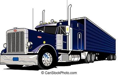 18 Wheel Semi truck, tractor and trailer, vector, eps