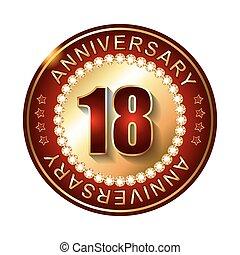 18 Years anniversary golden label.
