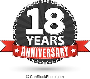18 years anniversary retro label with red ribbon, vector illustration