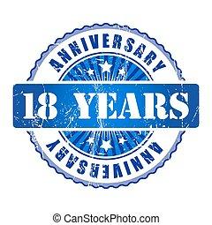 18 Years anniversary stamp.