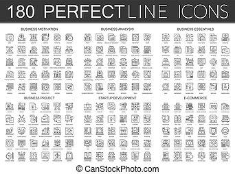 180, contorno, mini, icone concetto, simboli, di, affari, motivazione, affari, analisi, affari, essentials, affari, progetto, avvio, sviluppo, commercio, icona