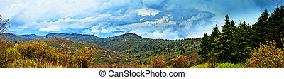 180 degree panorama of rain in mountains