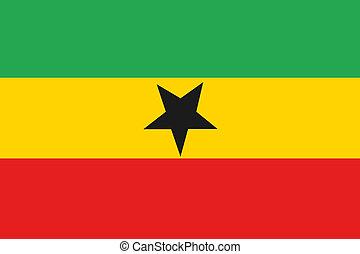 180 Degree Rotated Flag of  Ghana