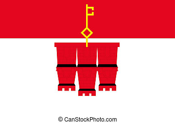 180 Degree Rotated Flag of  Gibraltar