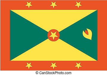 180 Degree Rotated Flag of  Grenada