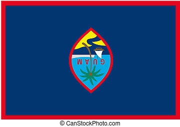 180 Degree Rotated Flag of  Guam