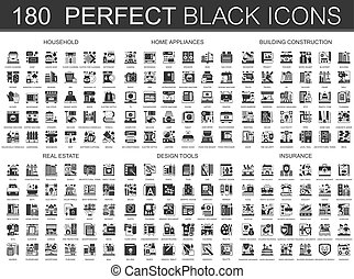 180 household, home appliances, building construction, real estate, design tools, insurance classic black mini concept symbols. Vector modern icon pictogram illustrations set.