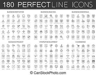 180, moderno, linea sottile, icone, set, di, affari, motivazione, analisi, affari, essentials, affari, progetto, avvio, sviluppo, e, commerce.