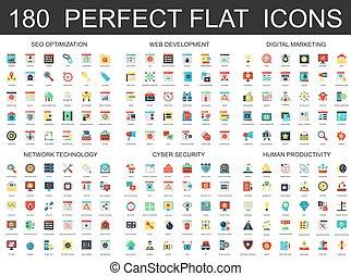 180, modernos, apartamento, ícones, jogo, de, seo, optimization, desenvolvimento web, digital, marketing, rede, tecnologia, cyber, segurança, e, produtividade, icons.