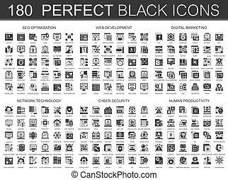 180, seo, optimization, desenvolvimento web, digital, marketing, rede, tecnologia, cyber, segurança, human, produtividade, clássicas, pretas, mini, ícones conceito, e, infographic, símbolos, set.