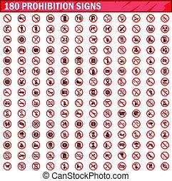 180, vecteur, ensemble, prohibition, signes