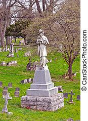 1800s, groby, i, pomnik, do, sprzymierzać się, wojsko,...