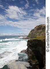 1820's, océan, créé, bath., newcastle, australia., il, bain, célèbre, nouveau, repère, galles, trou, plus vieux, était, bogie, sud