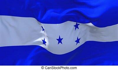 183. Honduras Flag Waving in Wind Continuous Seamless Loop...