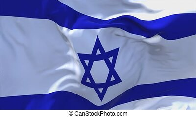 184. Israel Flag Waving in Wind Continuous Seamless Loop Background.
