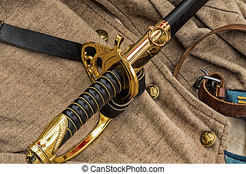 1861-1865, cinturón, tradicional, cuero, civil, mentiras, soldado, dorado, chaqueta negra, contra, uniforme, guerra, plano de fondo, espada, manija