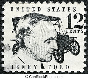(1863-1947), 1909, verenigd, 1968, usa, postzegel, auto, ...