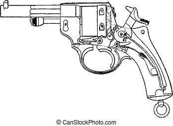 1873, モデル, 光景, engraving., 型, gun-revolver, デッキ